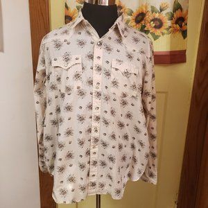 Vintage Youngbloods Western Cream & brown Floral